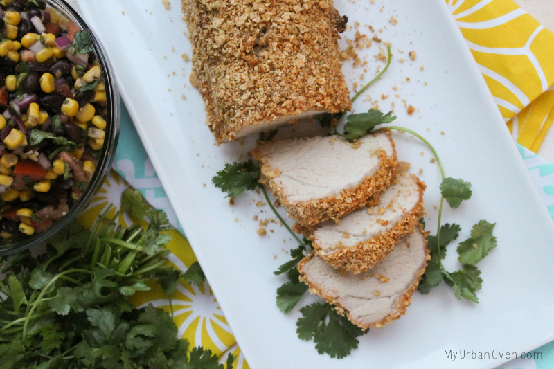 Tortilla Chip Crusted Pork Tenderloin + Black Bean Corn Salsa